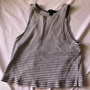 Forever 21 Ribbed Striped Muscle Tank, Grey, SZ L